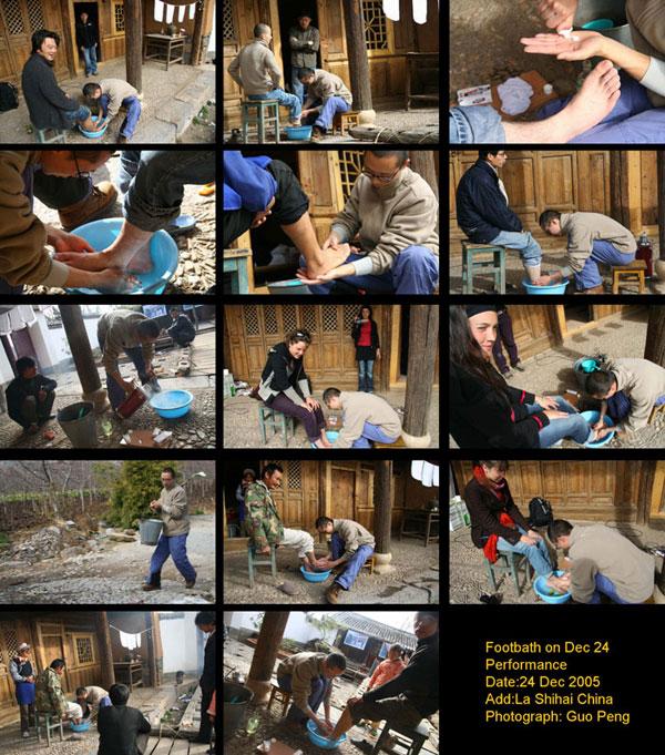 在中国农村洗脚